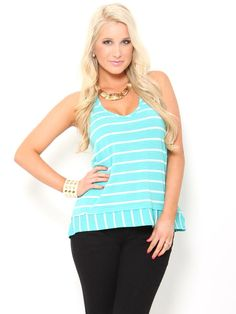 Pretty Little Price Sale: High Low Stripe Tank, $10