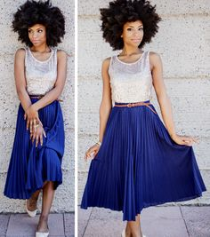 Pleated blue skirt on Nitty (Nicole) Carter-Lyde, styled by Alexandra Evjen and photographed by Jeanette Leblanc for the April 2013 issue of Emma Magazine.