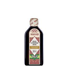 Rewelacyjny olej dyniowy - wspaniała konsystencja, smak i zapach. Sprawdź polski olej z pestek dyni :-) Jack Daniels Whiskey, Sauce Bottle, Whiskey Bottle, Drinks, Omega, Drinking, Beverages, Drink, Beverage