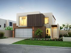 Modern House Facade with nice garage