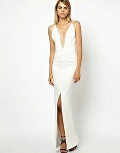 Asos white plunge neck dress