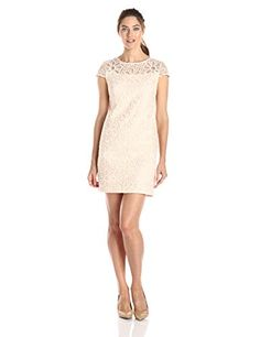 Sandra Darren Women's Cap Sleeve Embroidered Organza Dress