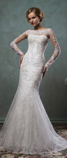 amelia sposa 2016 mermaid wedding dress with long lace sleeves camelia