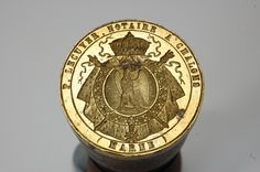 French Notary for Chalons armorial desk seal