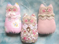 Valentine CAT Ornaments Set of  3 Ornies Bowl by CharlotteStyle, $22.00