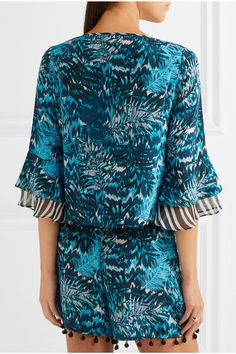Matthew Williamson - Pompom-embellished Printed Silk Crepe De Chine Top - Petrol - UK10
