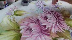 Pintura em Tecido. Aprenda pintar Crisântemo e Folhas