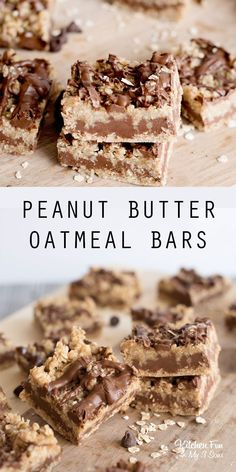 Peanut Butter Oatmeal Bars with a flaky bottom layer, melted chocolate chips and . Chocolate Oatmeal, Melting Chocolate Chips, Melted Chocolate, Chocolate Desserts, Brownie Recipes, Cookie Recipes, Dessert Recipes, Fun Baking Recipes, Sweet Recipes