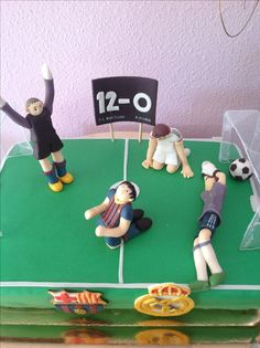 F.C. Barcelona vs. Real Madrid birthday cake. Soccer (football) cake.