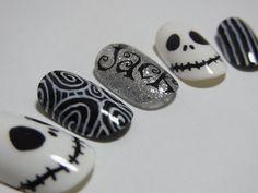 Awesome halloween nail art jack skeleton