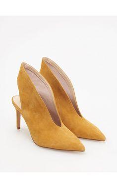 Botine de piele cu baretă la călcâi, Încălţăminte, galben, RESERVED Kitten Heels, Ankle Boots, Pumps, Adidas, Yellow, Leather, Shoes, Fashion, Ankle Booties