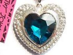 $9.99 Free shipping and a free gift Betsey Johnson shiny Blue Rare  heart Pendant Necklace USA SELLER & Free Gift #BetseyJohnson