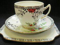 CAREWORN Salisbury China Art Deco tea trio