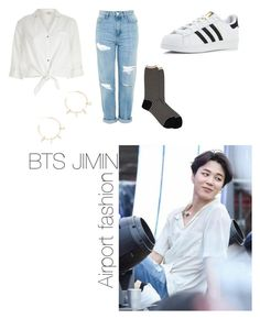 """""""BTS Jimin Airport fashion"""" by asianbabieohyea ❤ liked on Polyvore featuring Topshop, River Island, Antipast, adidas, Justine Clenquet, kpop, airport, bts and jimin"""
