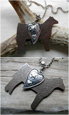 Stock Show Heifer Necklace with a gorgeous heart charm. Perfect for FFA, show moms or farm and ranch wives! Show Cows, Show Cattle, Showing Livestock, Ffa, Ball Chain, Country Girls, Heart Charm, Dog Tag Necklace, Antique Silver
