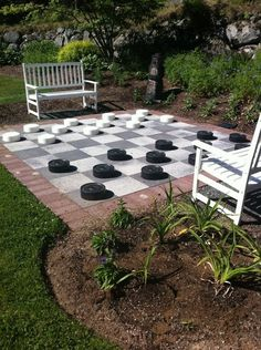 Outdoor checkers. Wish this had instructions, board looks easy need to figure out checkers