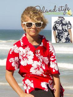 Boys Hawaiian Shirt HIBISCUS FLORAL Tropical Luau Party Vintage Print Polynesian $17.95