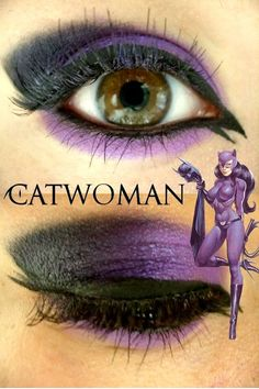 catwoman or not however I can't think of any other time I would wear this much eye make up especially in bright purple. Catwoman Makeup, Catwoman Cosplay, Cat Costumes, Halloween Costumes, Batgirl Halloween, Costume Ideas, Dyi Costume, Halloween Villain, Batgirl Costume