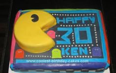 Homemade Pac Man Birthday Cake: I made this homemade Pac Man birthday cake for a good friends' surprise party. My friend wanted her hubby to have an 80's party, so we looked around for
