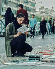 Iranian girl in Tehran Iran Iran Girls, Iranian Beauty, Persian Beauties, Persian Girls, Korea, Iranian Women Fashion, Hijabi Girl, Woman Reading, Book Aesthetic