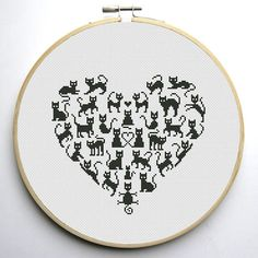 Heart and Cats 2 is a pattern, not the completed work. I designed it myself. On 14-count aida the design measures 7.8w X 7.1h inches. 110w X 100h Stitches Sizes will change with count size. Design used 1 DMC thread colors. This pattern allows you the freedom to pick your own