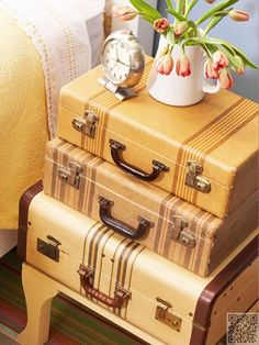 5. #Stacked Suitcase Side #Table - 8 Easy DIY Home Decorations ... #Fabric