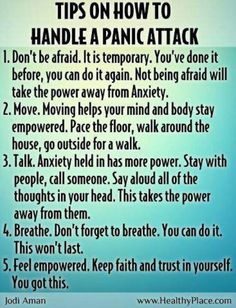 Panic attacks...self hypnosis and meditation is working for me finally after yrs on clonazepam for panic attacks...it feels great to be strong, i love self help instead of drugs