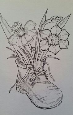 Daffodils in a boot by Lumi Barbu