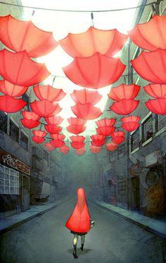 Little Red Riding Hood - Le petit Chaperon Rouge - Joy Ang Umbrella Art, Under My Umbrella, Charles Perrault, Red Riding Hood, Little Red, Amazing Art, Awesome, Cool Art, Concept Art