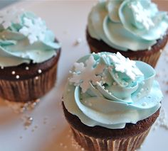 Winter cupcakes. Chocolate cupcakes with blue buttercream frosting and white sprinkles. Winterpalooza.