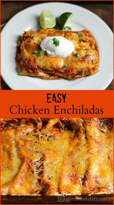 This easy chicken enchilada recipe uses a rotisserie chicken for a quick dinner which also makes great leftovers and freezes well too.