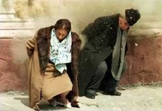 The moment of the execution of Elena and Nicolae Ceausescu, december Romania. The execution also meant the end of comunism for romanian people.