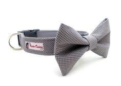 A bow tie for Barley fir the wedding? I think so! Micro Houndstooth  Dark/Light Grey Dog Collar by theKozieCanine, $21.99