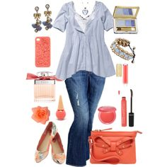 Plus Size Peach & Blue, created by elise1114 on Polyvore