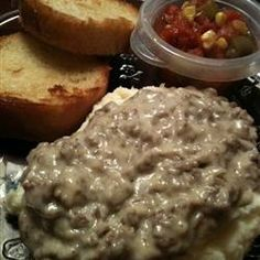 (Creamed Beef).Very simple and quick. Serve over toast (Shingles) or biscuits or hashed brown potatoes. I know leaving the grease in is not ...