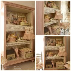 Baby girl wardrobe Pink Miniature wooden by AtelierMiniature