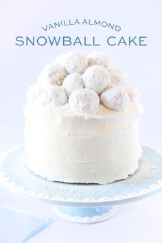 Vanilla Almond Snowball Cake, perfect for a Baby Shower Cake!