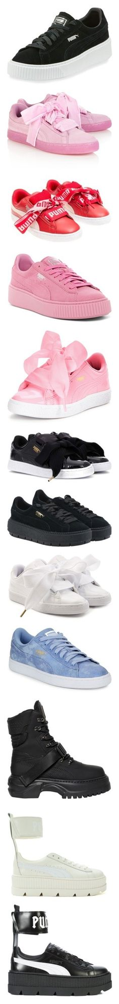"""Shoes B*tch!!"" by stylish-kpop on Polyvore featuring shoes, sneakers, black, black platform shoes, black suede shoes, lace up sneakers, puma trainers, puma shoes, heart shoes et laced shoes"