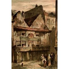 Old London 1900 Nell Gwynnes hse Drury Lane Canvas Art - Waldo Sergeant (24 x 36)