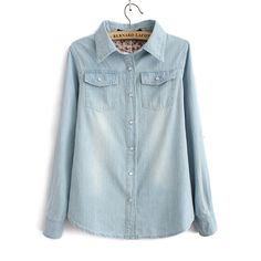 Women Fashion Light Blue Denim Shirt With Two Pockets Ladies Casual Jeans Blouse SW3072-H03 US $9.49
