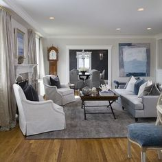 """""""BM White Dove trim and ceiling. BM OC-51 (intense white) walls""""""""These living room walls in Intense White OC-51 by Benjamin Moore look fabulous in an eggshell finish."""""""