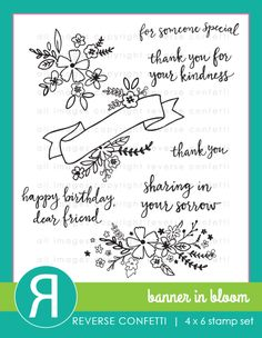 Banner In Bloom stamp set by Reverse Confetti - July 2017. Coordinating Confetti Cuts available.