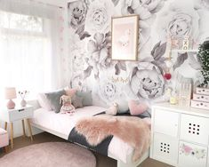 New rose wallpaper bedroom kids rooms Ideas