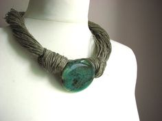 Azure Agate linen necklace by GreyHeartOfStone on Etsy