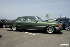 Green Mercedes Benz w115 on 16″ BBS RS