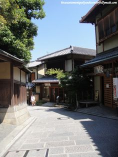 One of the most beautiful neighborhoods in Kyoto, Japan polished with old wooden houses, traditional tea houses, Japanese restaurants and so...