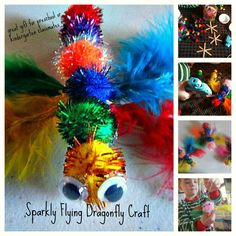 DIY Sparkly Flying Dragonfly Craft by