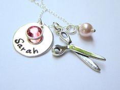 Hairdresser/ Scissor Charm Jewelry Gift w/ Necklace by ShinyMetals, $39.00