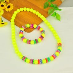 Fluorescence Acrylic Jewelry Sets for Kids includes Bracelets and Necklaces Little Girl Jewelry, Kids Jewelry, Jewelry Sets, Beaded Jewelry, Handmade Jewelry, Beaded Necklace, Necklaces, Wholesale Gold Jewelry, Kids Bracelets