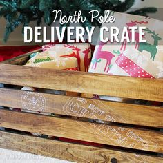 """Keep the spark of Christmas alive with this DIY """"Do Not Open Until Christmas"""" North Pole Christmas gift delivery crate idea! /// by Atkinson Drive Noel Christmas, Christmas Projects, All Things Christmas, Christmas Ideas, Xmas, Gift Delivery, Diy Craft Projects, Wood Projects, North Pole"""